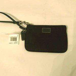NWT Coach Signature Black Skinny Small Wristlet
